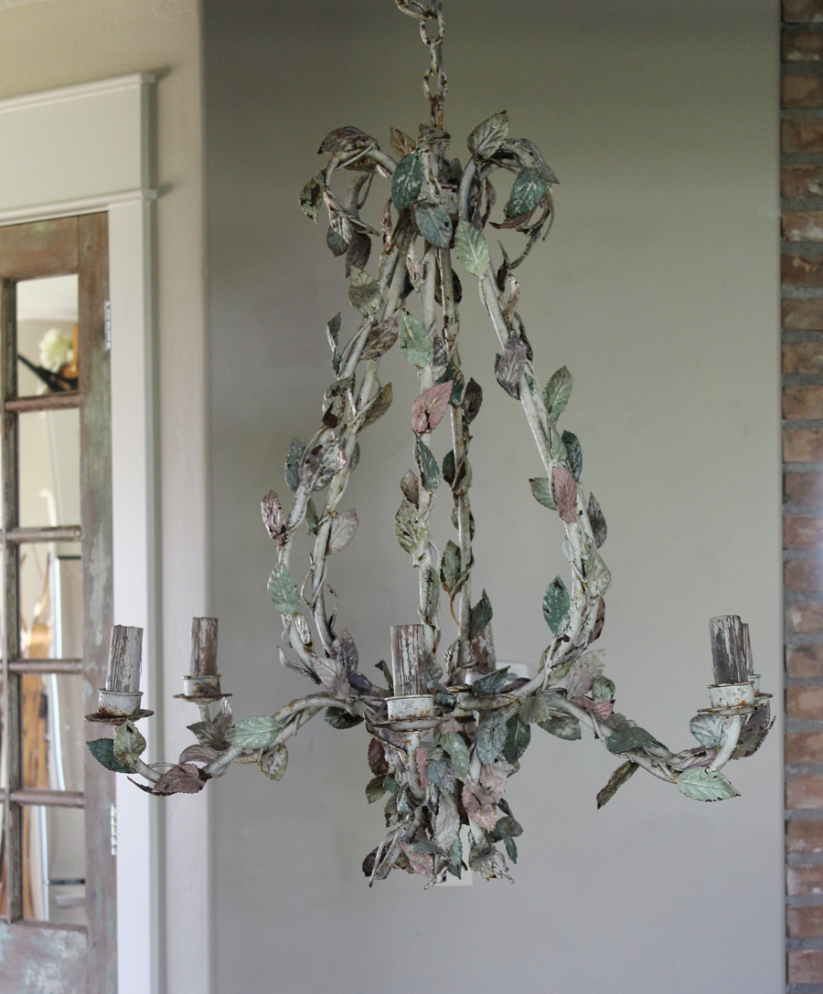 1800's Massive Incredible Pastel French Tole Chandelier