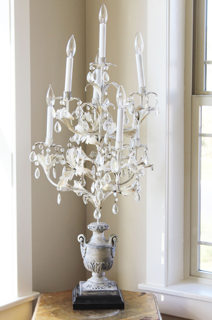 Antique French Table Chandelier Girandole Crystal Prisms