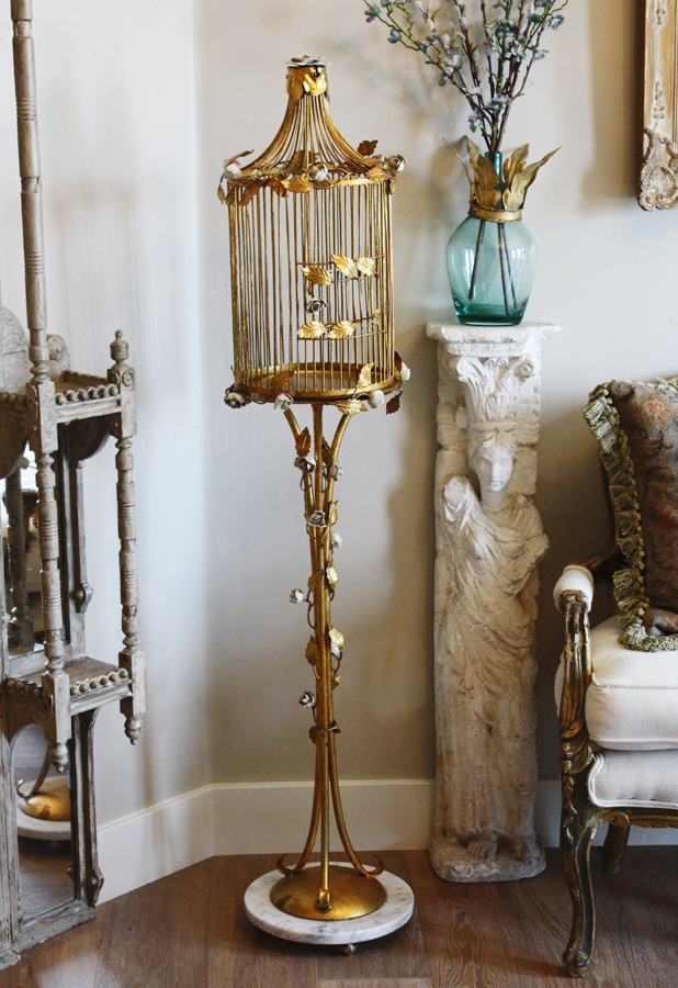 Antique Italian Tole Climbing Rose Gilt Birdcage
