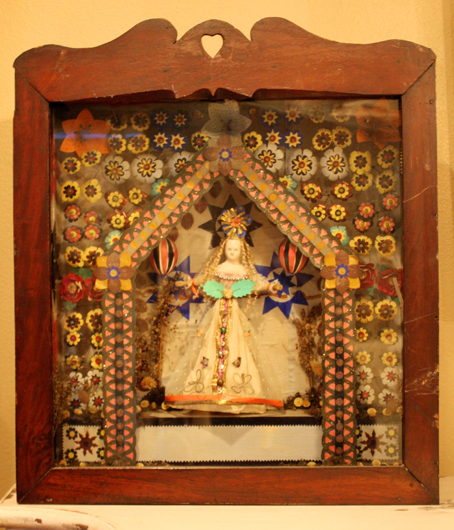 19th C. Religious Curio Framed Shrine Santos-