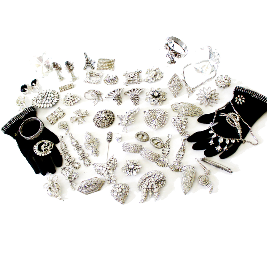 Incredible! Huge Collection of Antique Rhinestone Jewelry