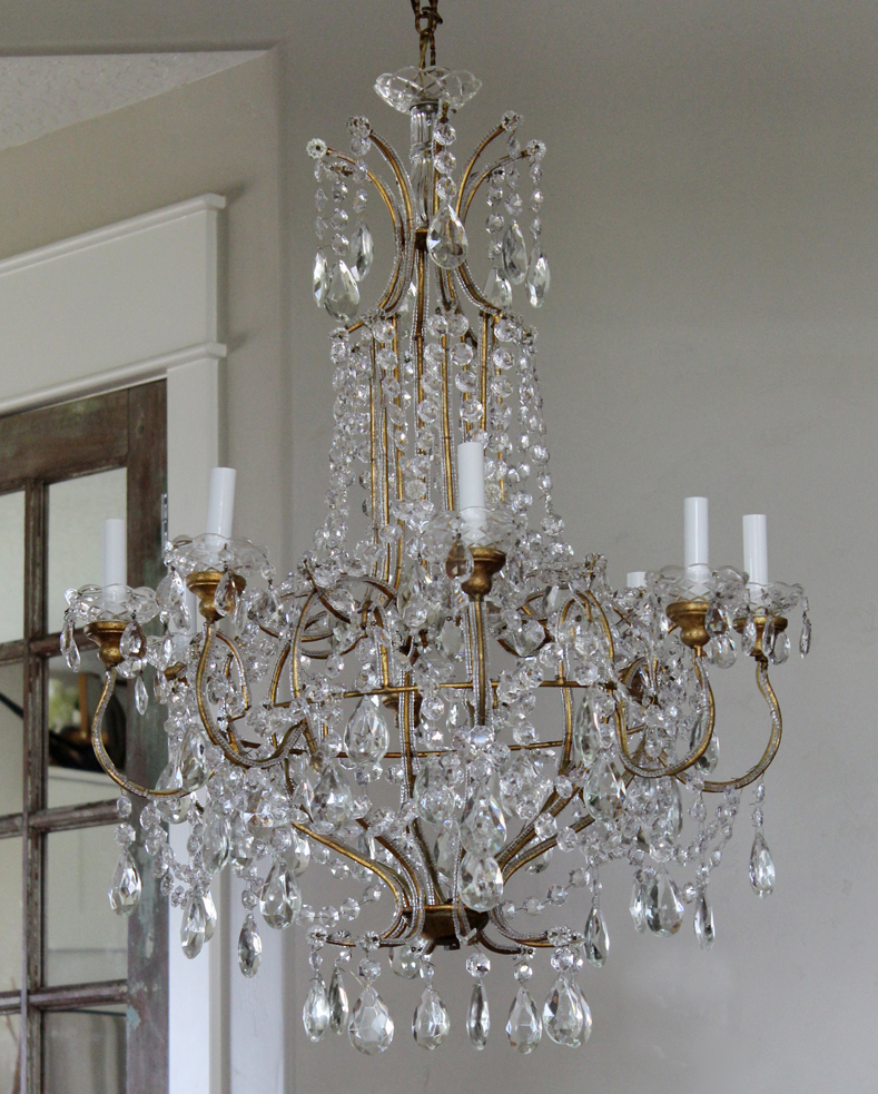 Xlrg Incredible Antique Italian Beaded Chandelier Showstopper