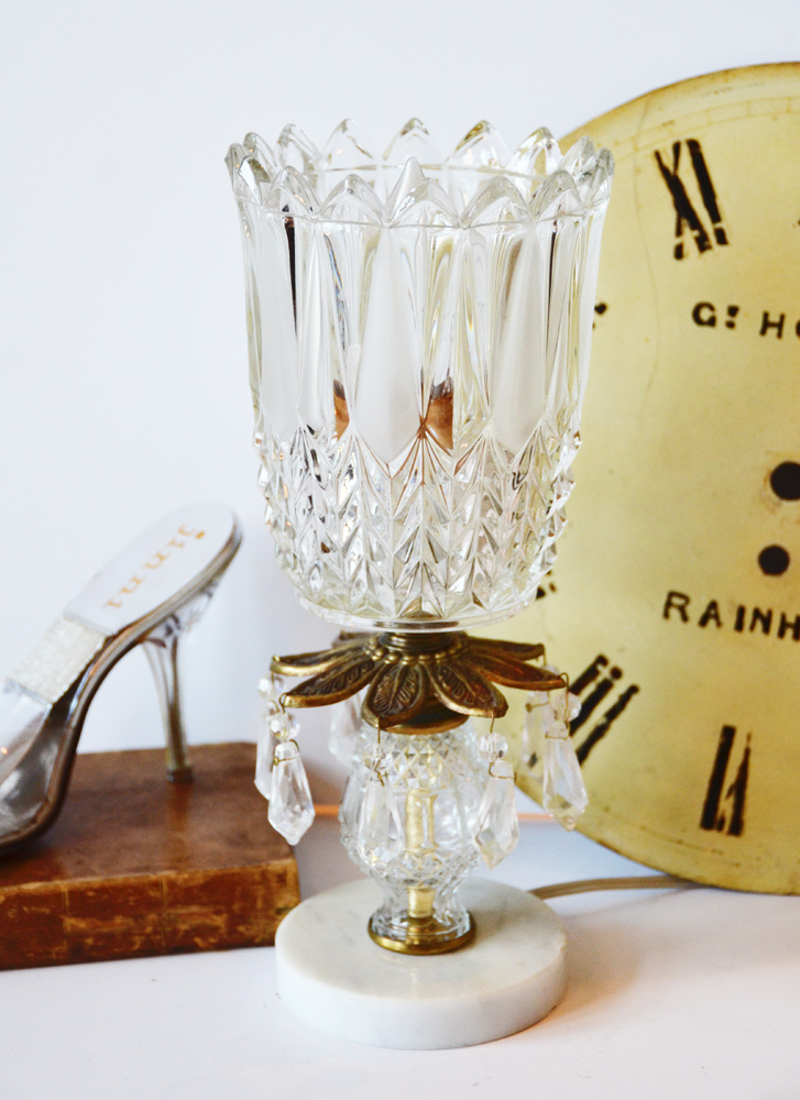 Antique Crystal Huricane Lamp w/Prisms-