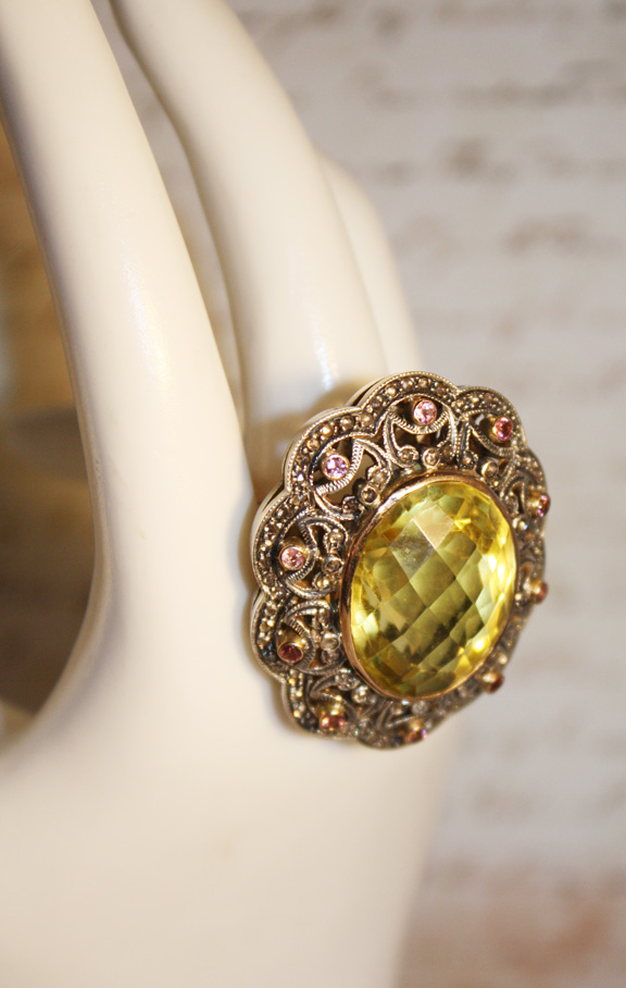 Antique Estate Diamond, Citrine & Pink Amythyst Cocktail Ring