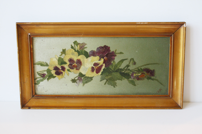 Antique Oil Painting on Canvas Pansies-
