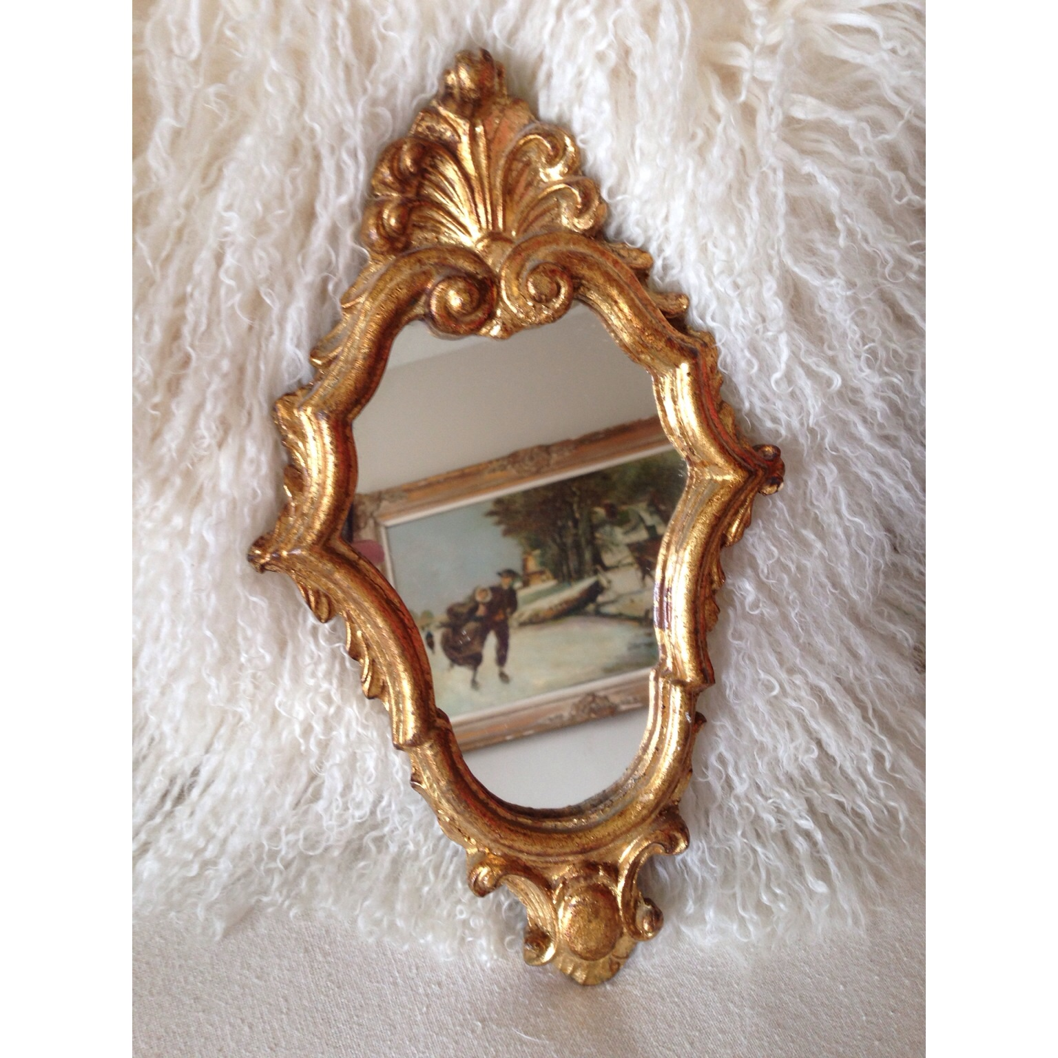 Italian Florentine Gilt Carved Wall Mirror-