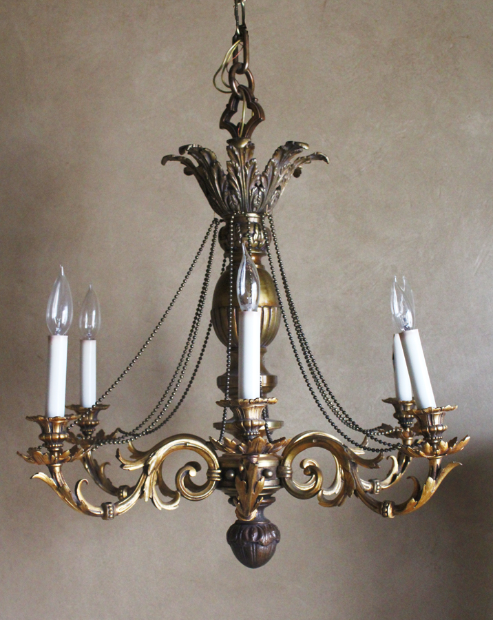 Antique Impressive French Six Arm Chandelier