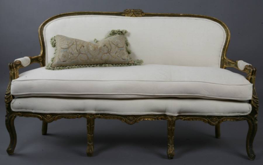 Antique French Gilt Sofa Canape Incredible Carved Details New Upholstery-
