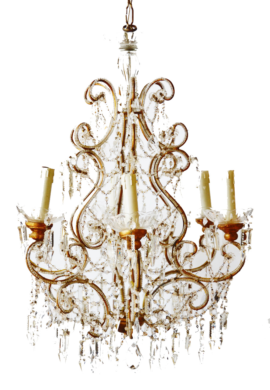Showstopper Antique Xlarge Italian Beaded Chandelier Incredible-