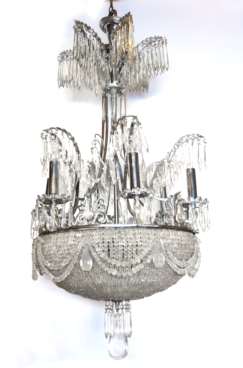1920s Incredible Rock Crystal Chandelier w/Beaded Dome