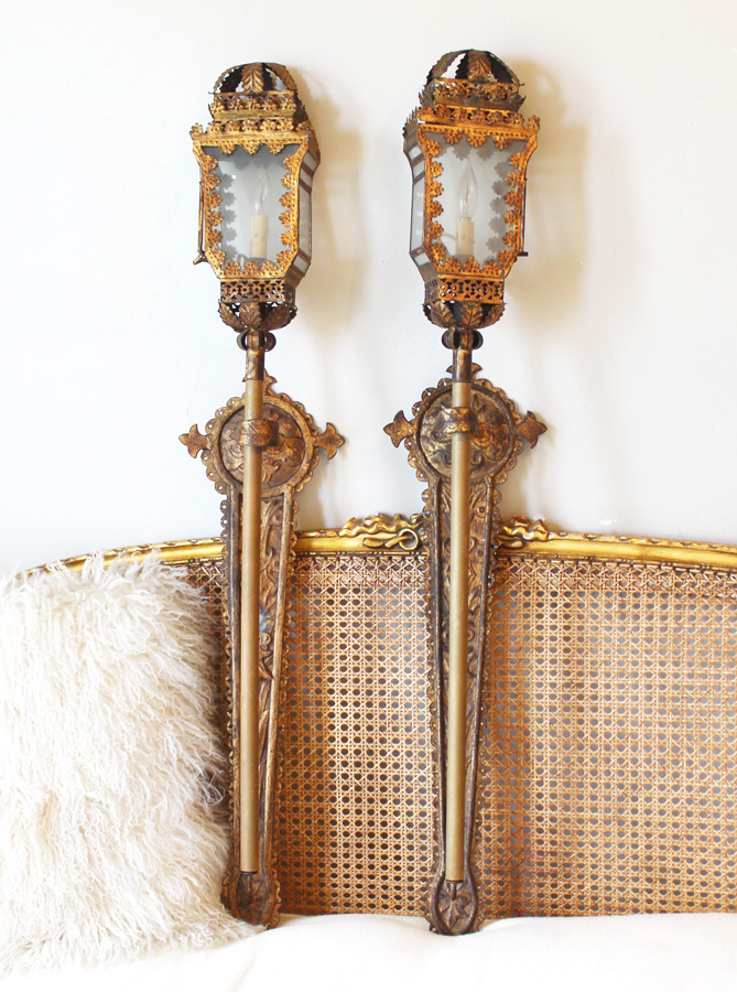 Incredible Antique Italian Tochiere Lantern Wall Sconces