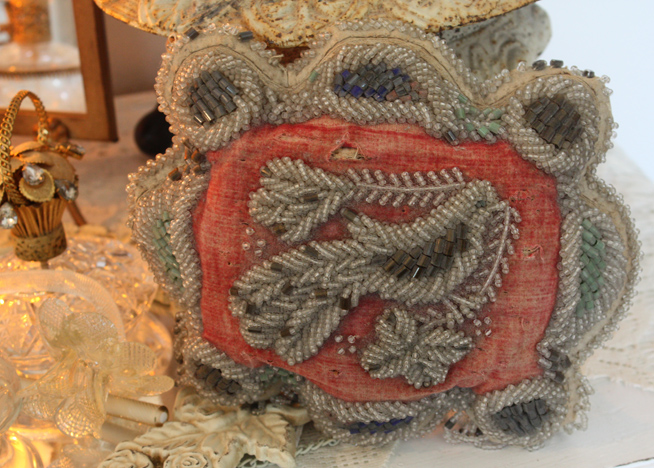 Late 1800s Indian Beadwork PIllow Iriquois Victorian