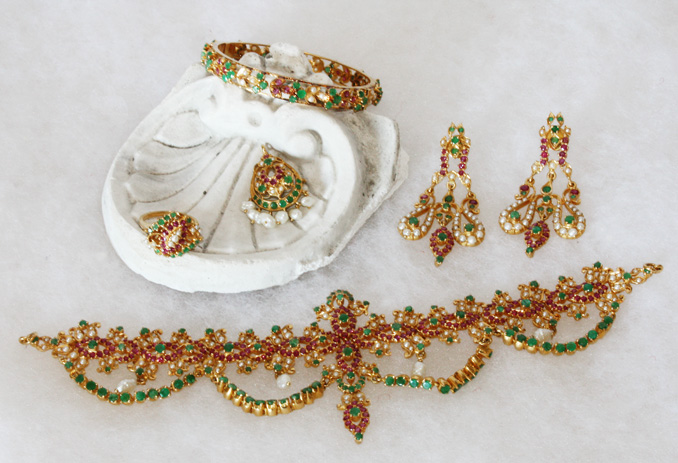 Rare Fine Boxed Set of Indian Brides Jewelry-