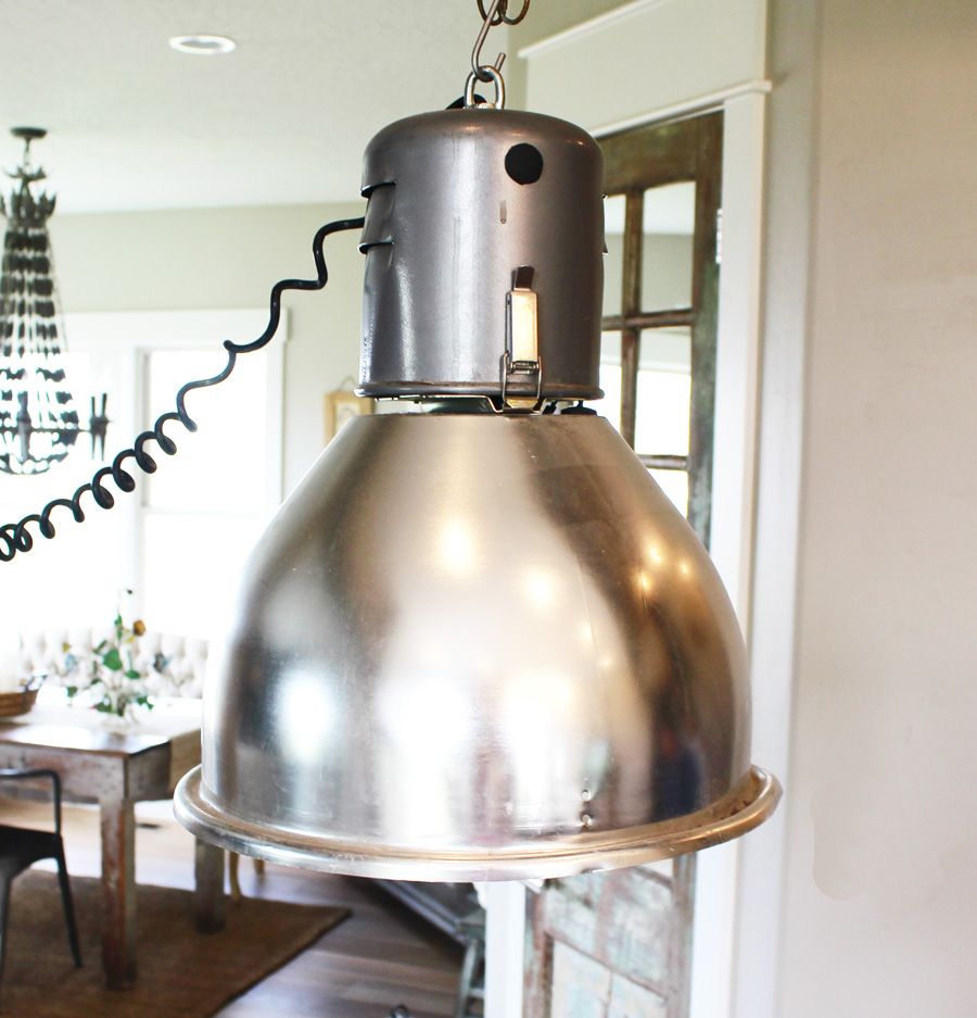Pair Antique Industrial Xlrg Pendant Lights-
