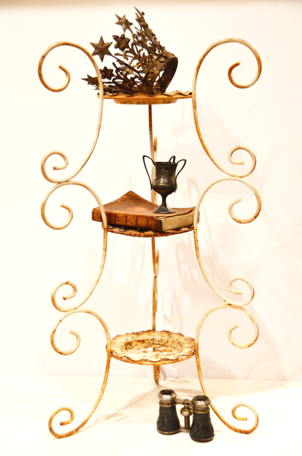 Rusty Crusty Three Tier Ornate Metal Stand