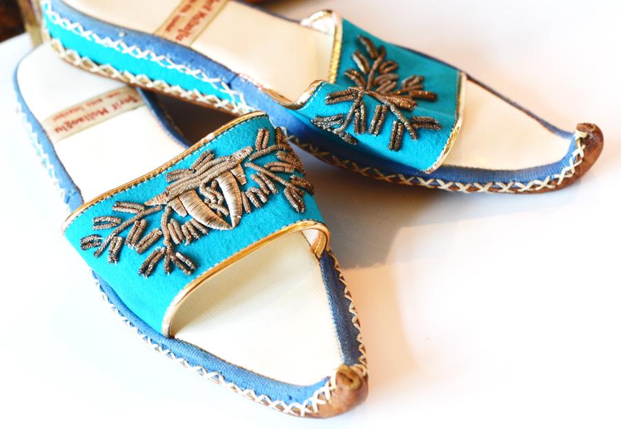 Pair Vintage Handmade Gypsy Slippers Instanbul-