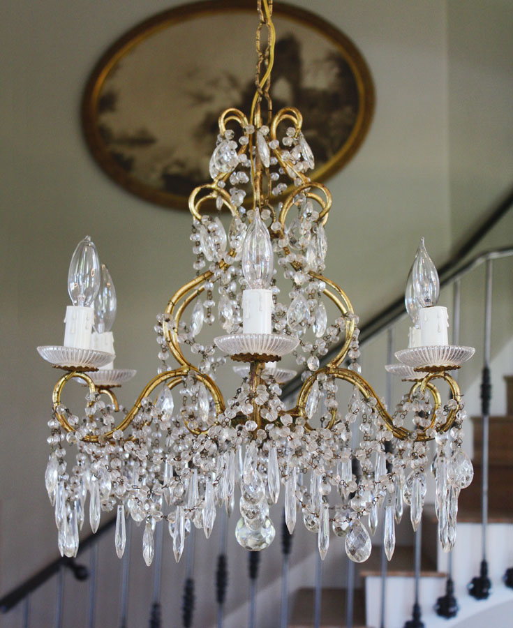 Antique Italian Beaded Crystal Chandelier Stunning Prisms