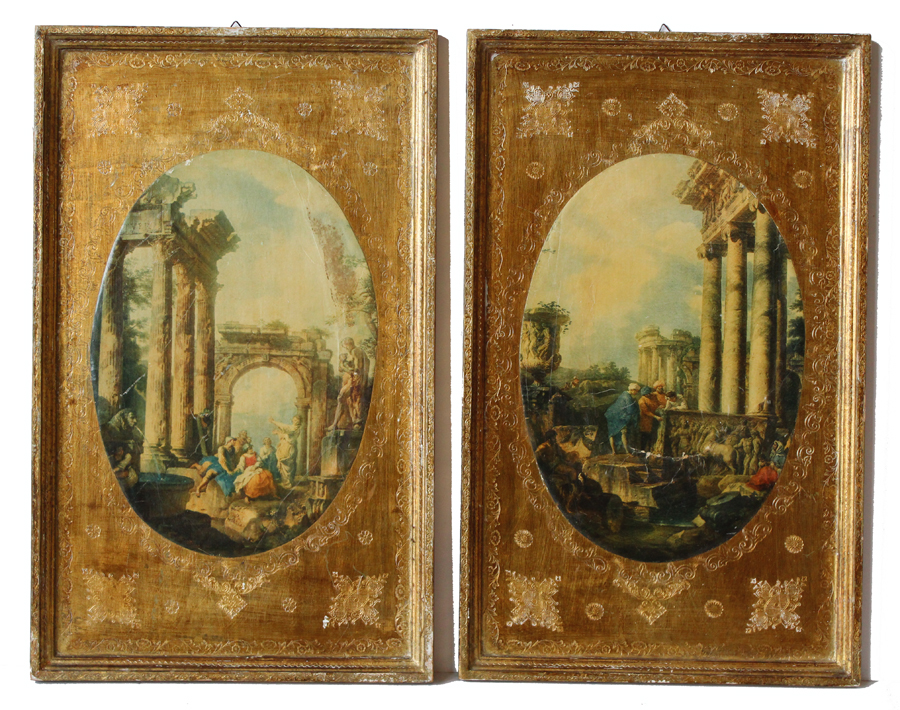 Pair Italian Florentine Framed Wall Hanging Pictures