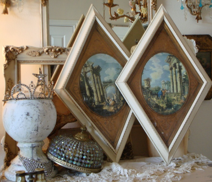 Pair Old Italy Architectural Framed Prints-