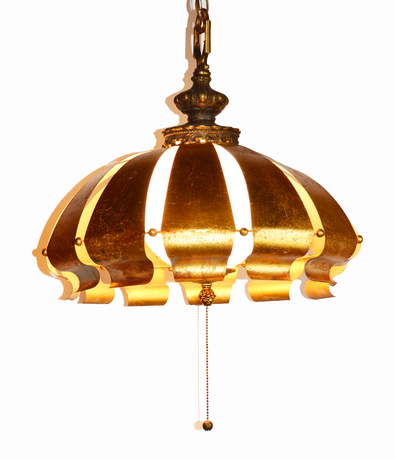 Italian Tole Gilt Rare Pendant Swag Light Chandelier-