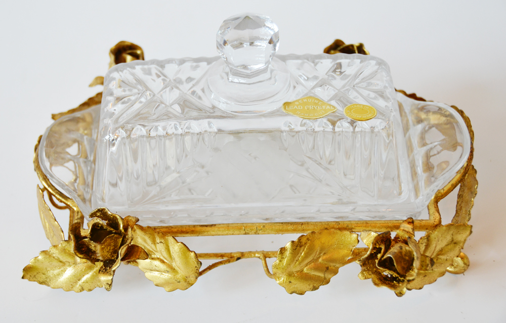 Antique Italian Tole Gilt Rose Cut Crystal Butter Dish-