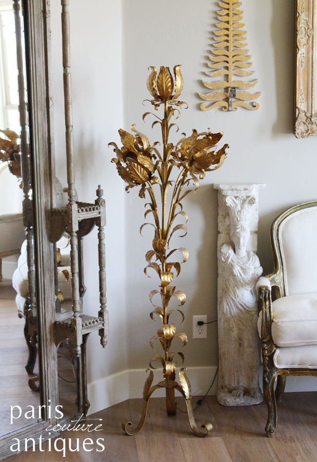 Rare Italian Tole Hollywood Regency Gilt Flowers Floor Lamp