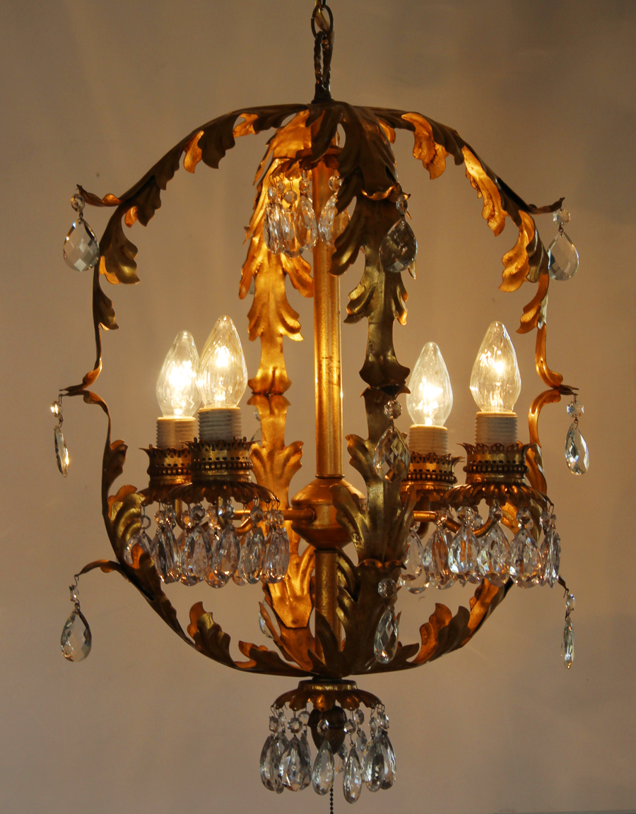 Antique Xlrg Italian Tole Gilt Crystal Chandelier