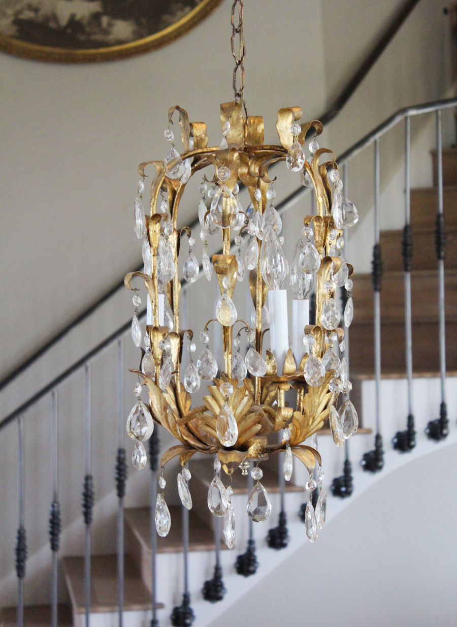 Antique Italian Tole Crystal Prisms Gilt Chandelier Birdcage Style