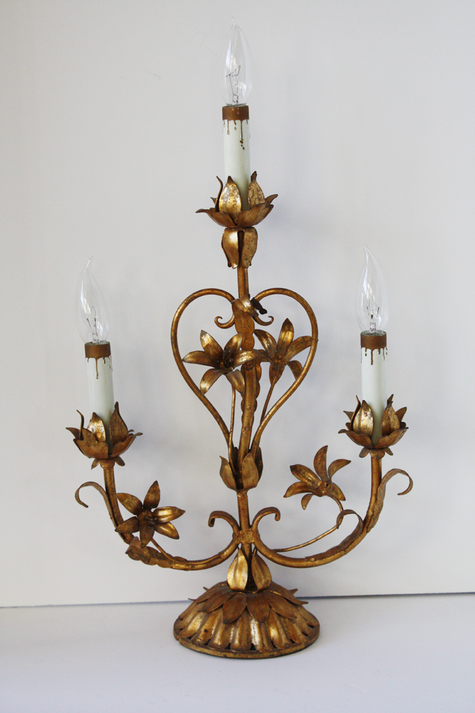 Rare Italian Tole Lily Girandole Table Lamp-