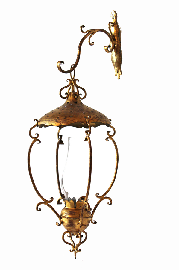 Italian Tole Lantern Wall Sconce w/Chimney-