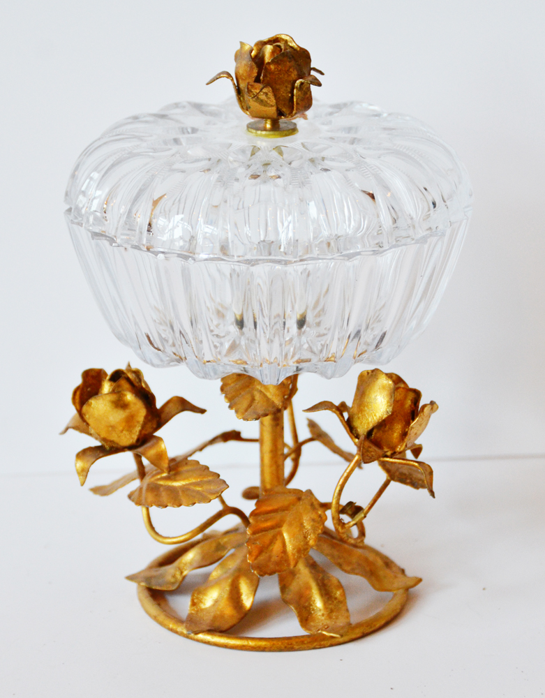 Italian Tole Lidded Compote Candy Dish Cut Crystal Rare-