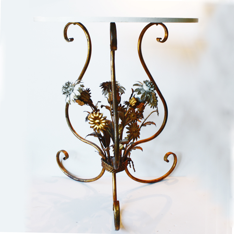 Italian Tole Chrysanthemums Gilt EndTable Antique-