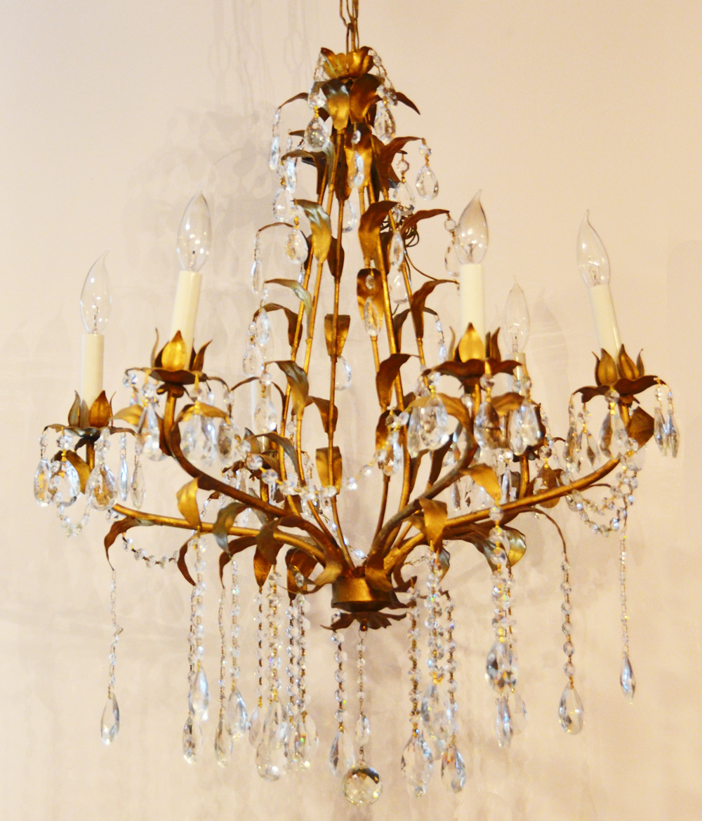 Large Antique Italian Tole Gilt Crystal Prisms Chandelier-