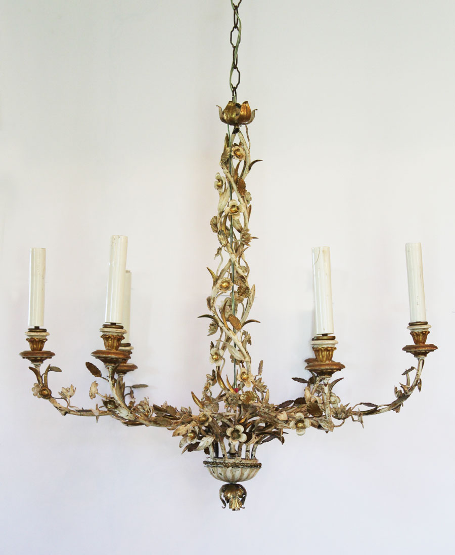 Monumental X-large Italian Tole & Carved Wood Palladio Made in Italy Chandelier