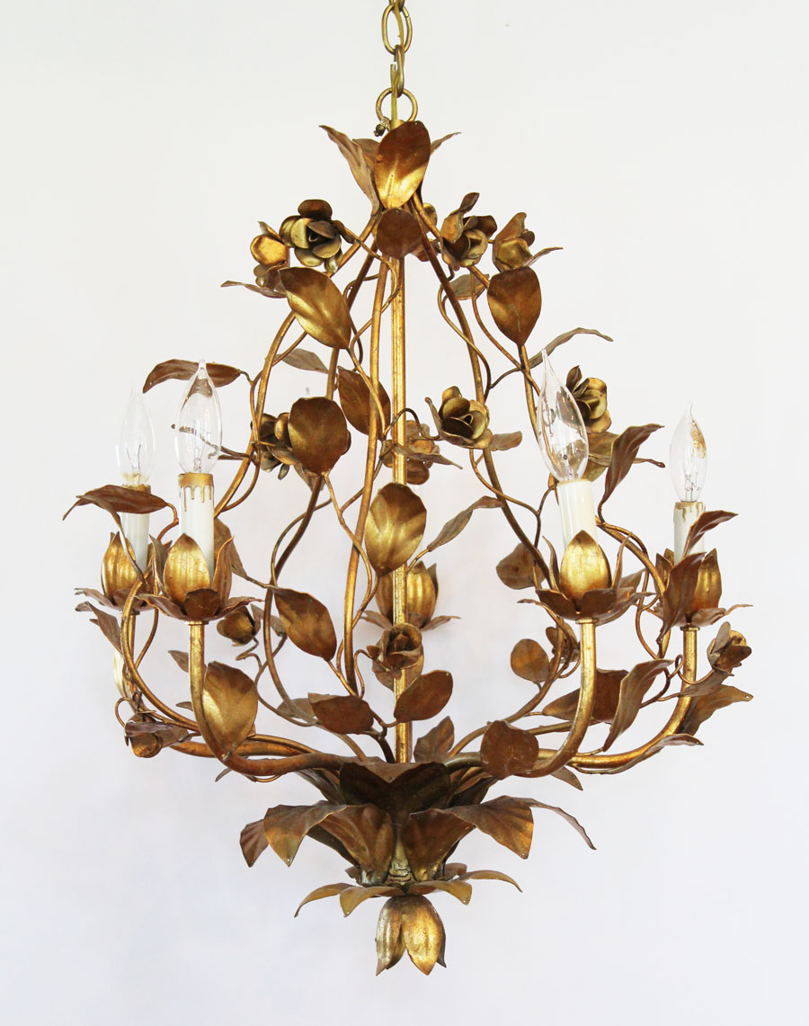 Italian Tole Gilt Roses Antique Chandelier