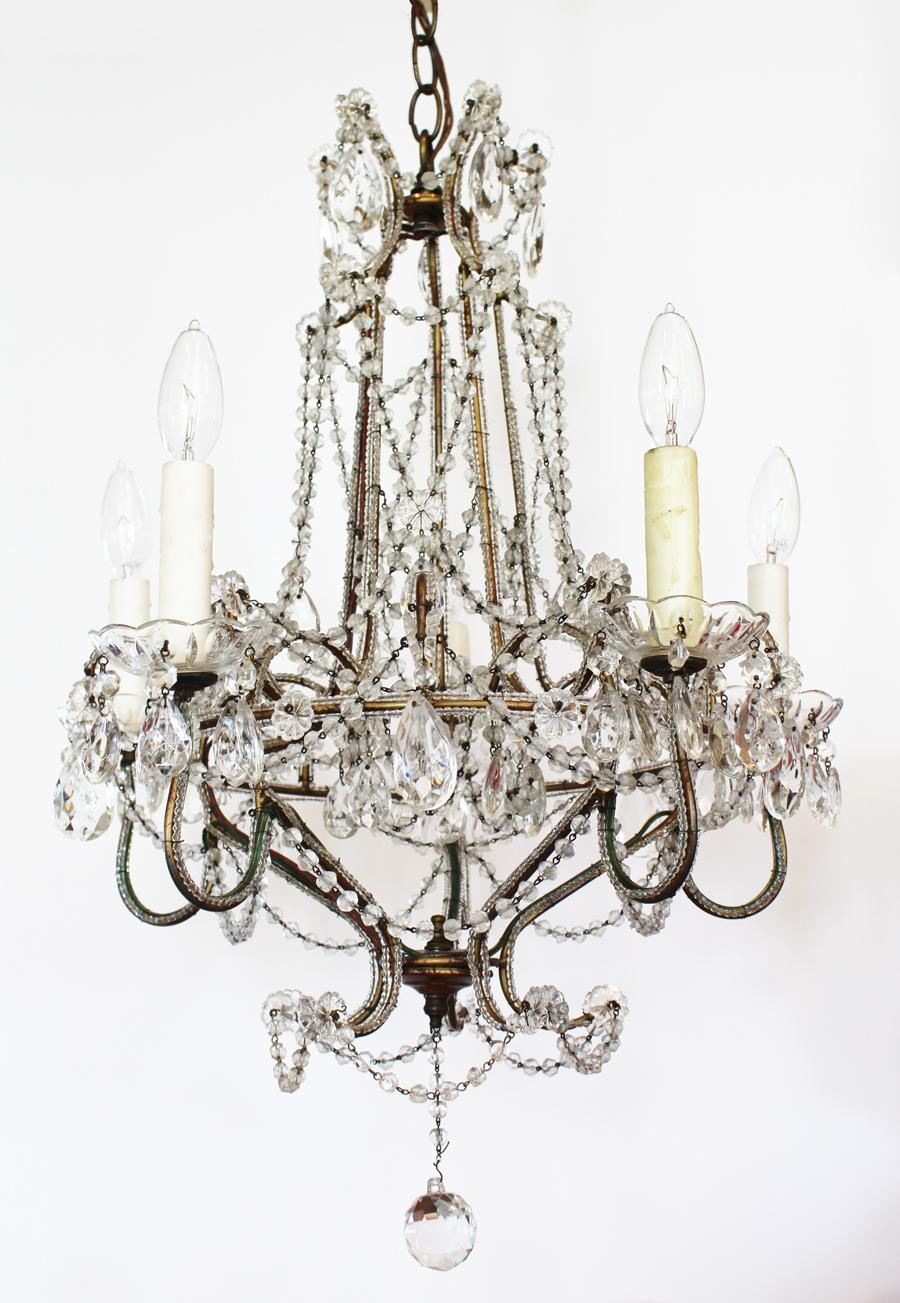 Breathtaking Large Antique Italian Beaded Chandelier-