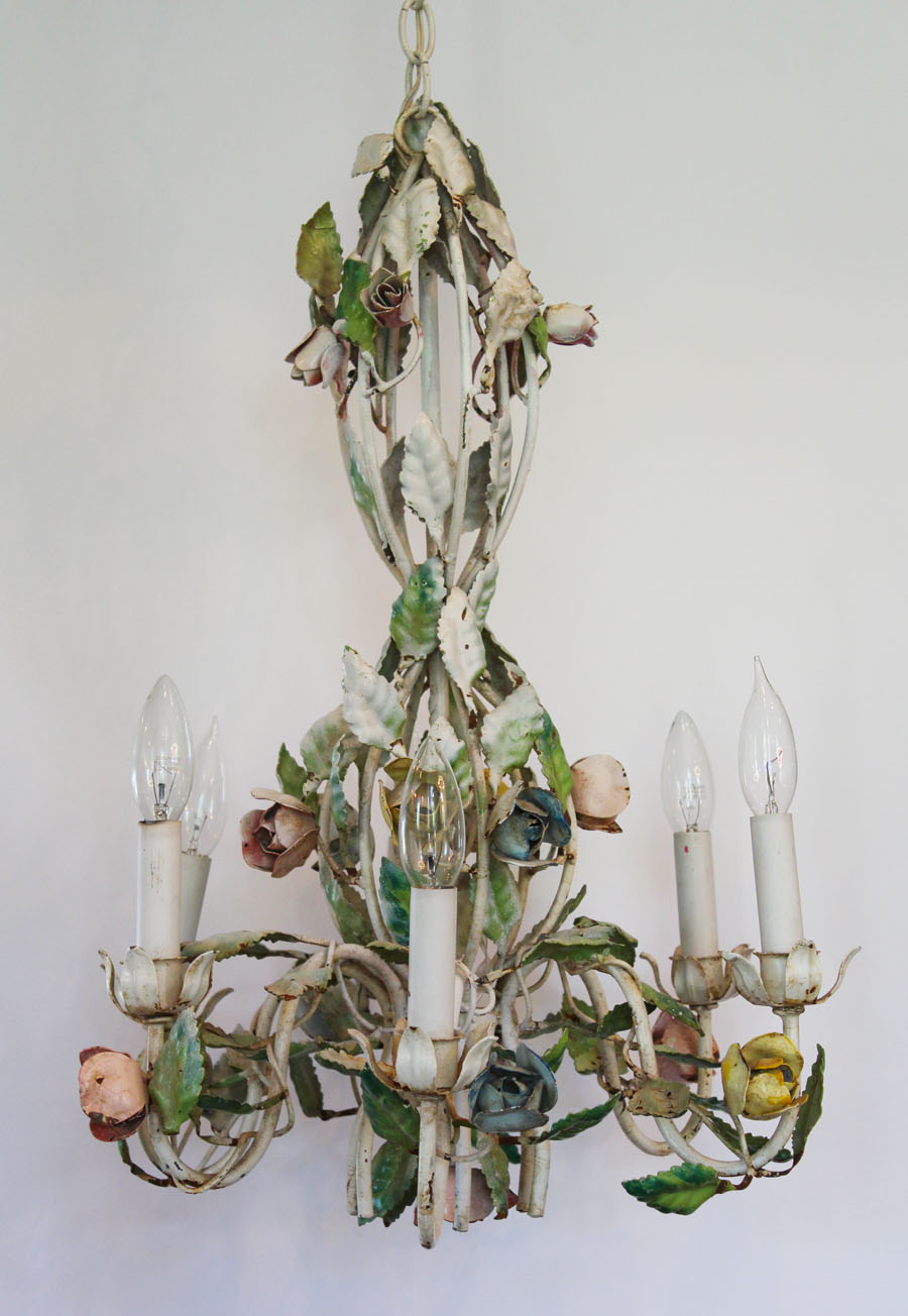 My Fav! Antique Pastel Roses Italian Tole Chandelier