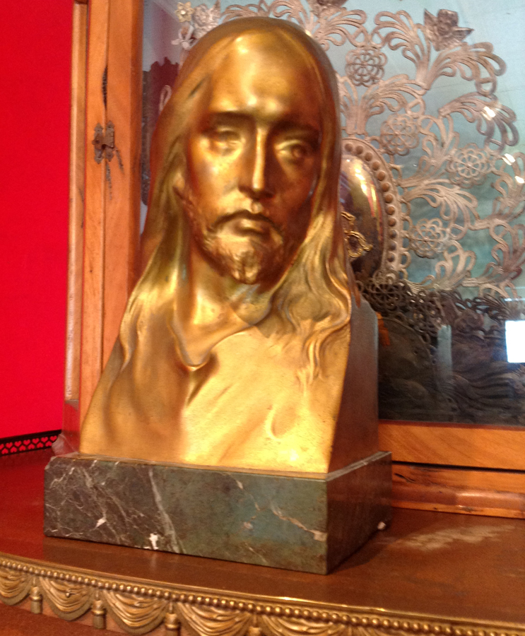 Antique Austria Art Nouveau 1905 Cast Bronze Jesus Signed Mueller-