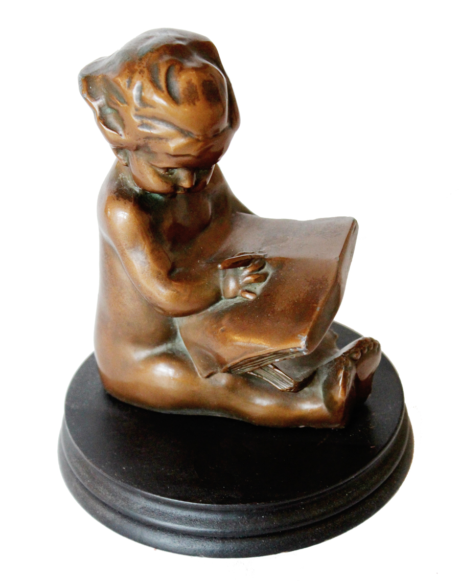 Antique Child Statue on Plinth-