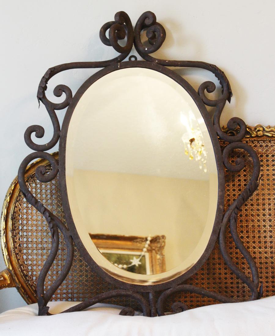 1800s French Hand Wrought Iron Beveled Mirror Stunning-