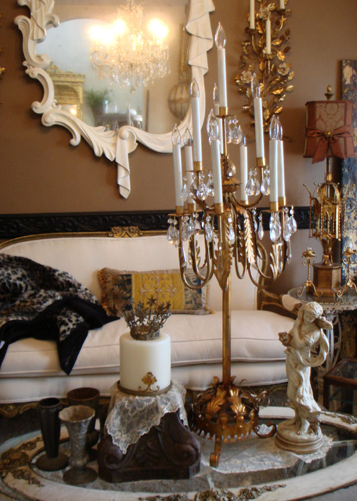 Incredible Italian Tole Antique Table Chandelier Candelabra