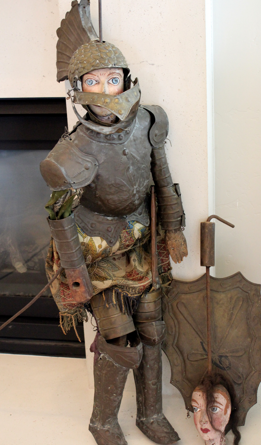 Antique French Puppet Hand Carved Knight in Original Clothing