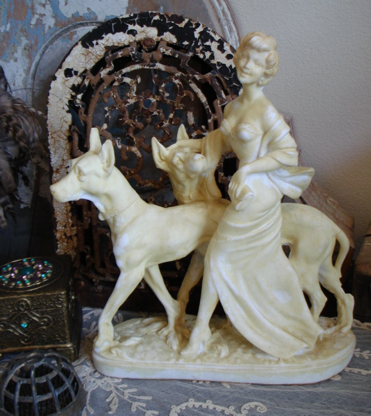Antique FIGURAL Woman & Dogs SALT STATUE Incredible Detail-