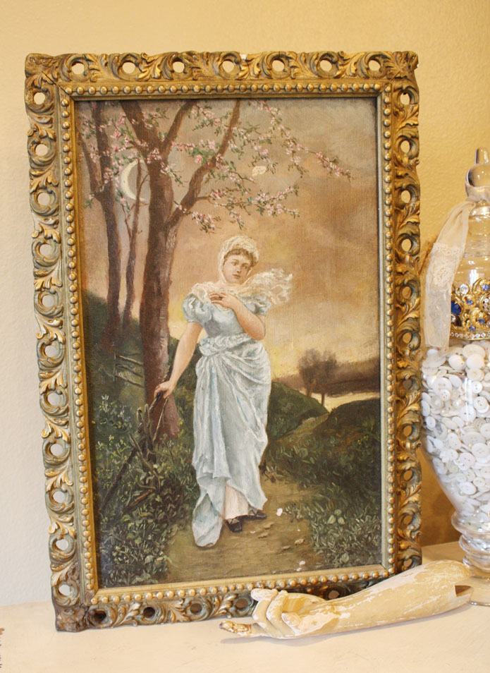 Antique Victorian Goddess in Garden Oil Painting 1800s-