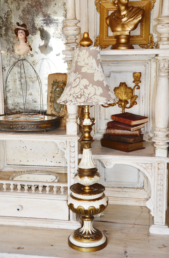 Antique Metal Painted Lamp & Lampshade-