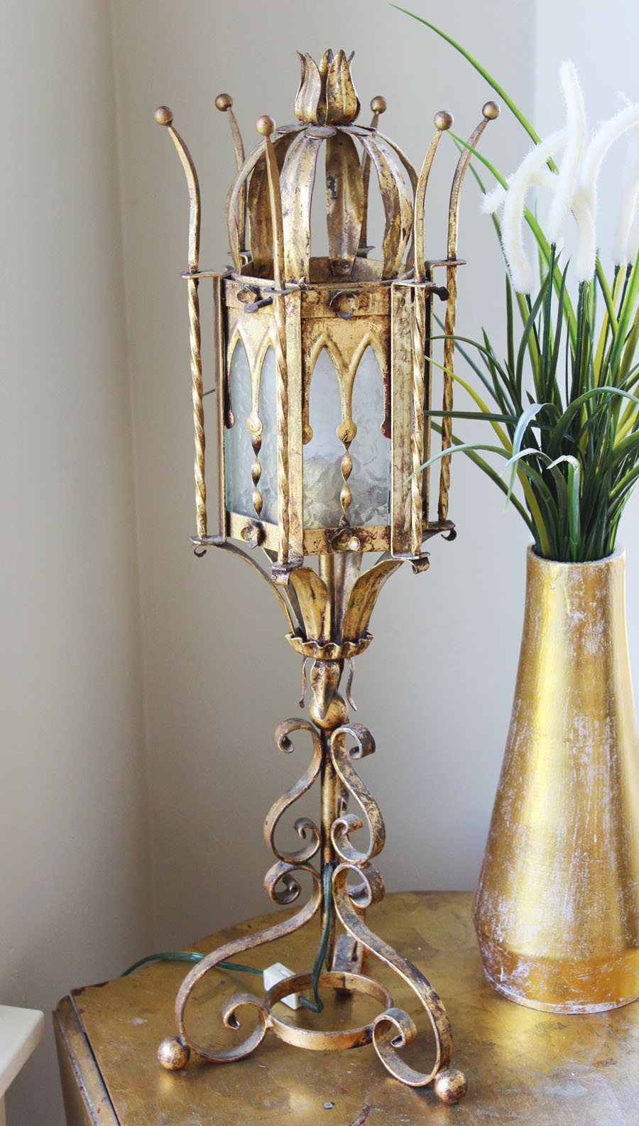 Made in Italy Antique Lantern Gothic Style Lantern Table Lamp