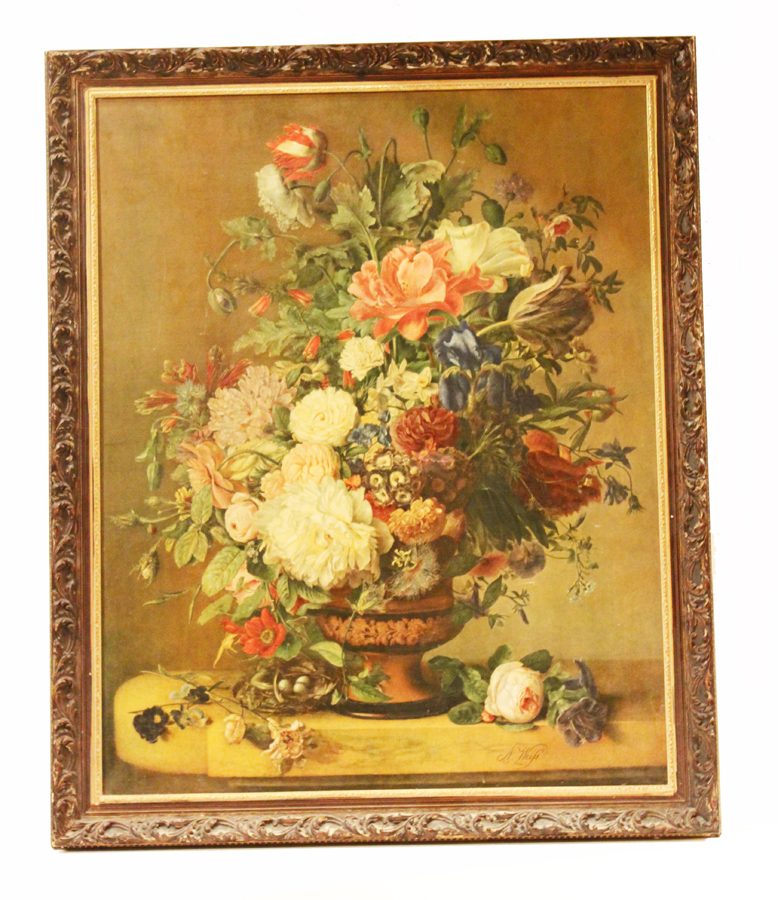 Vintage Xlrg Canvas Floral Hand Touched Litho Original Frame