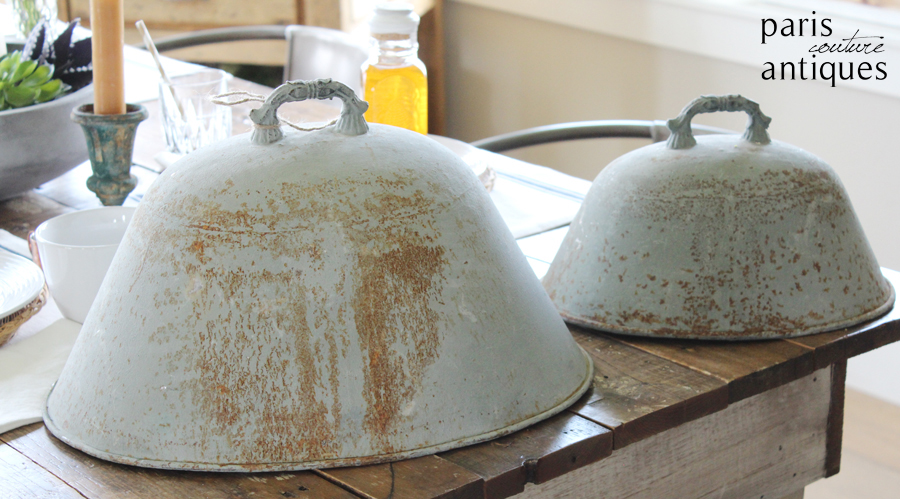 Pair Vintage French Farmhouse Metal Food Domes Gorgeous Patina