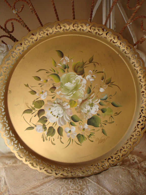 Antique Handpainted Tole Tray Reticulated Edge Roses