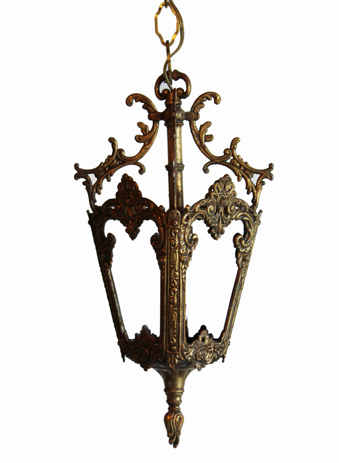 Antique Ornate Brass Pendant Lantern-